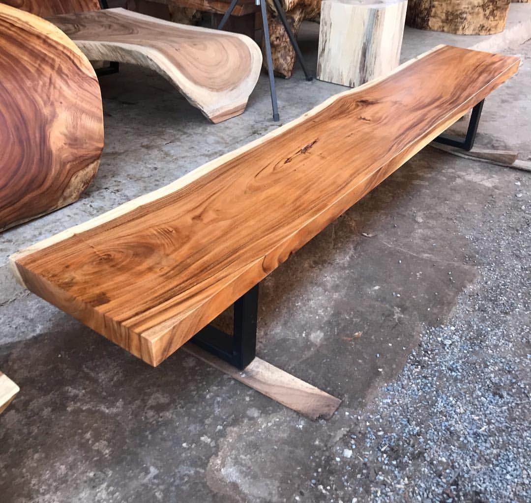 Golden Acacia Live Edge Single Slab Bench With Welded Steel Legs In Black Matt Flowbkk77 Flowbkk Asianpicker Asianpickers Woodart