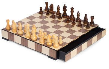 Bey Berk Wood Matte Inlay Chess Checkers Set Checkers Inlay Chess