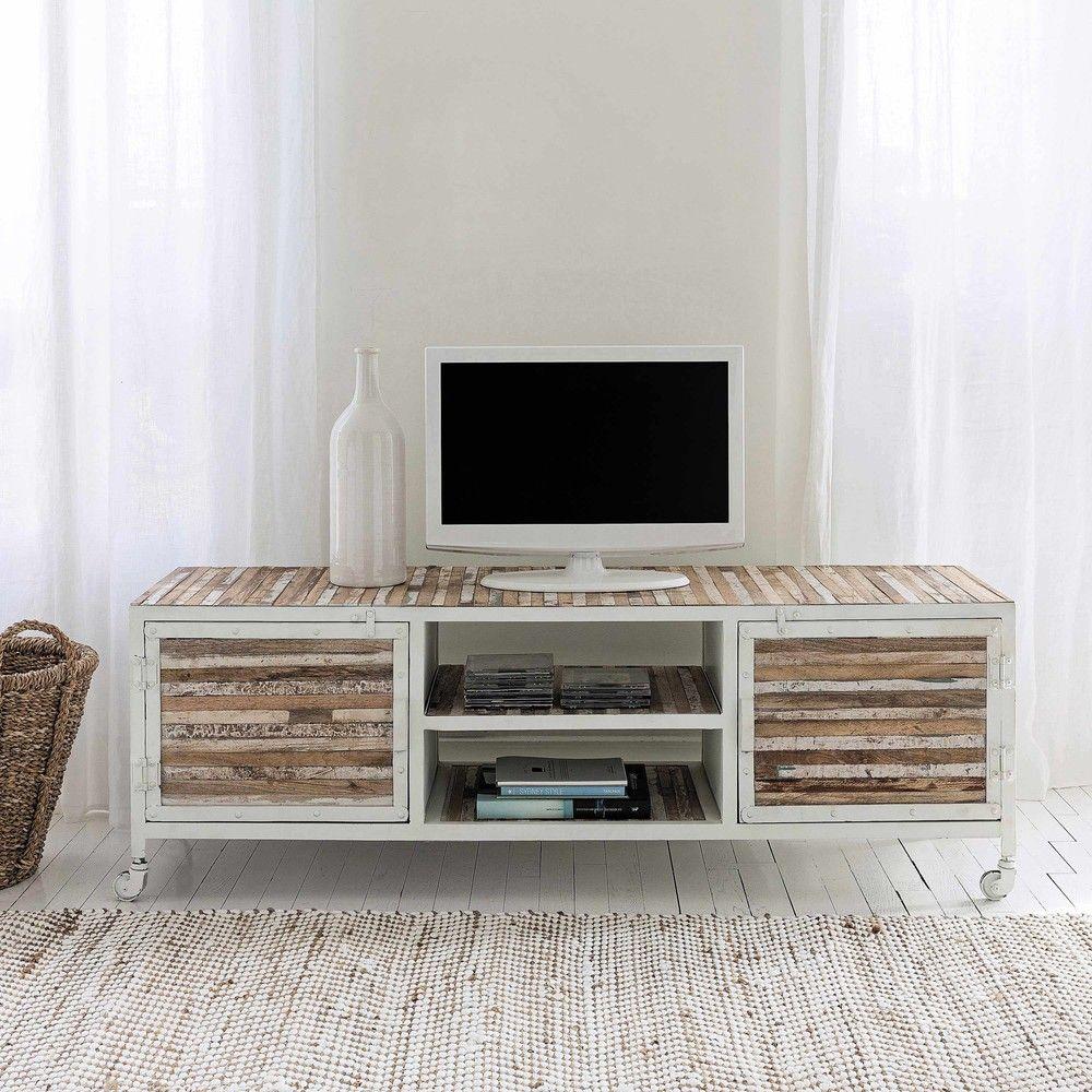 Porta Tv Bianco In Metallo E Legno L 140 Cm Wood Tv Unit Tvs Tv Unit