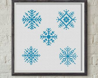 Christmas Cross Stitch Snowflake Modern Cross por Stitchonomy