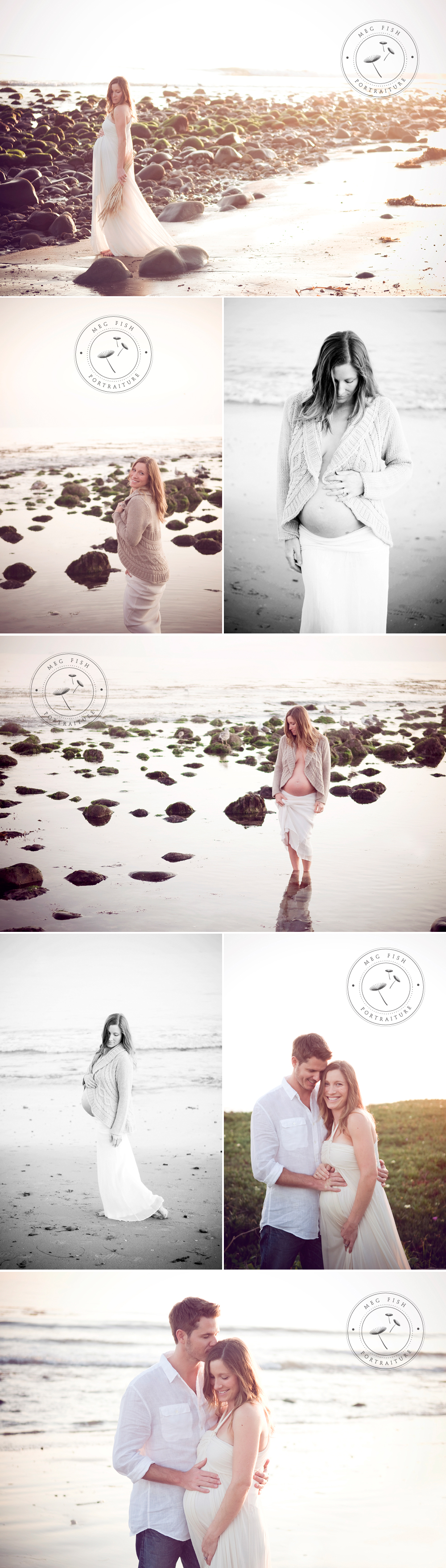Maternity beach shoot - love the look of the soft, cozy sweater with belly bump poking out.
