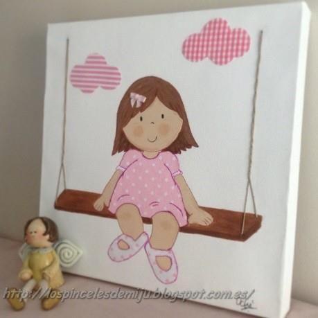 Ni a en columpio tonos rosas lienzo personalizable en - Cuadros artesanales infantiles ...