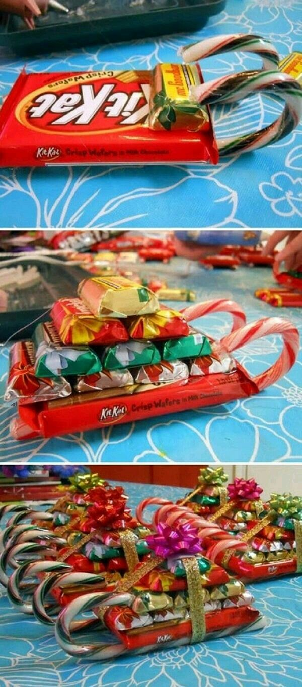 Candy Bars Peppermint Sticks Sleighs Easy Homemade Christmas Gifts Homemade Christmas Gifts Diy Christmas Gifts Creative