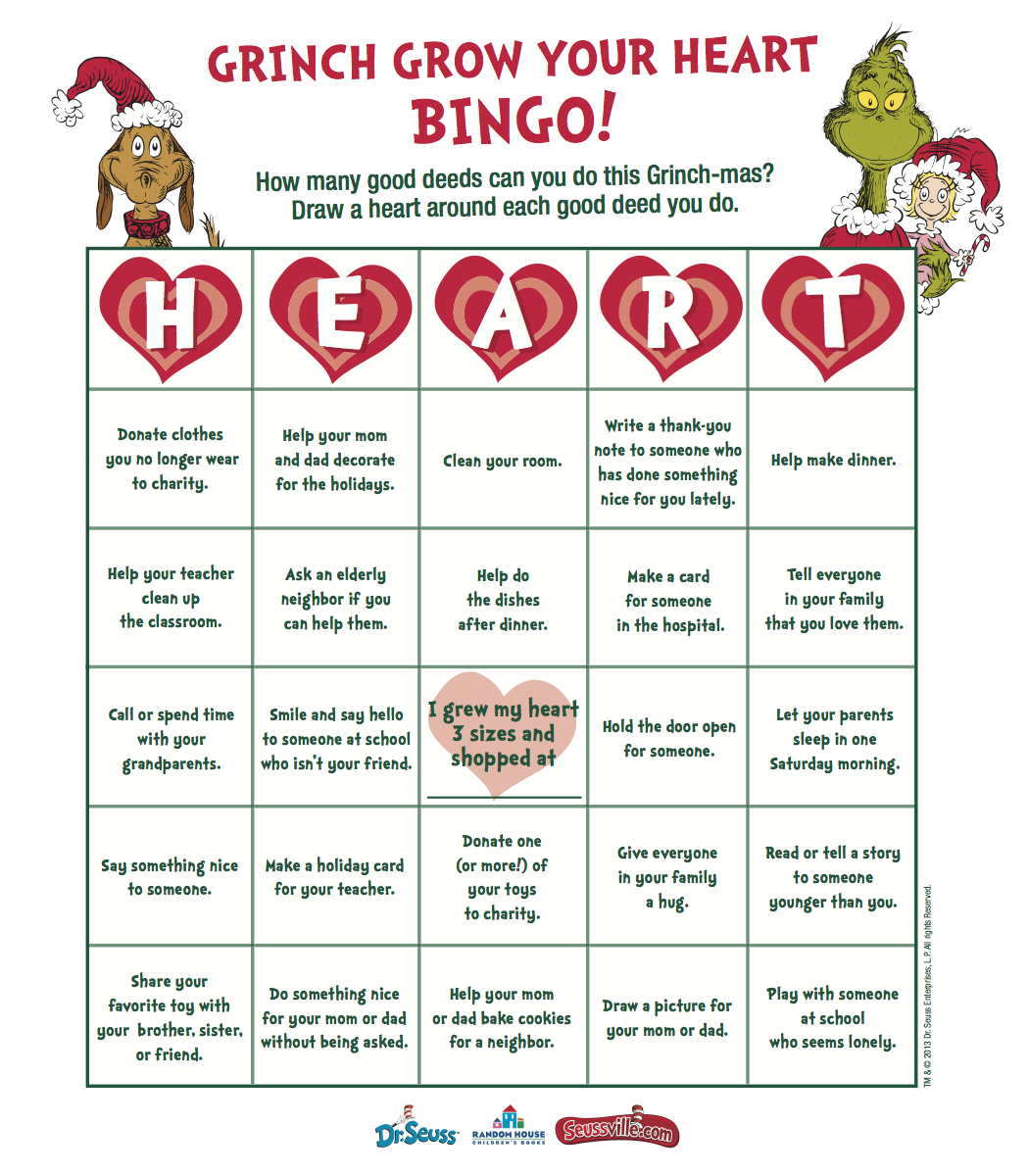 Grow Your Heart With Grinch Bingo Amp Get Grinch Ts At
