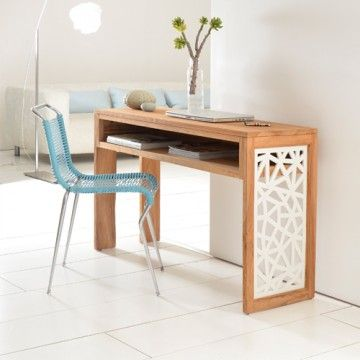 La console de bureau en teck Carving est une trs belle console en