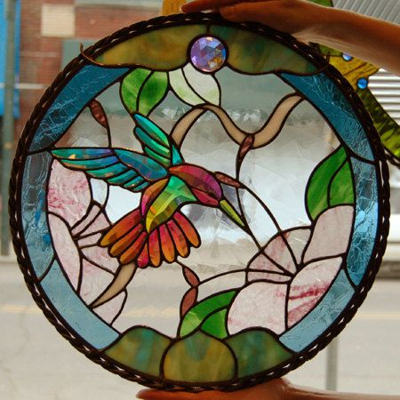 Large Dichroic Stained Glass Hummingbird Bevel by DichroGlassman