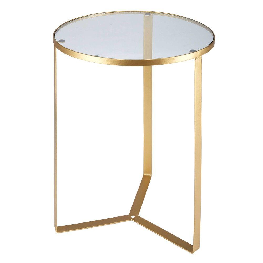 Side Table Van Glas.Bijzettafeltje Van Glas En Goudkleurig Metaal 茶几 Metal