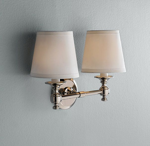 Bon Powder Room Light   Lugarno Double Sconce   Restoration Hardware