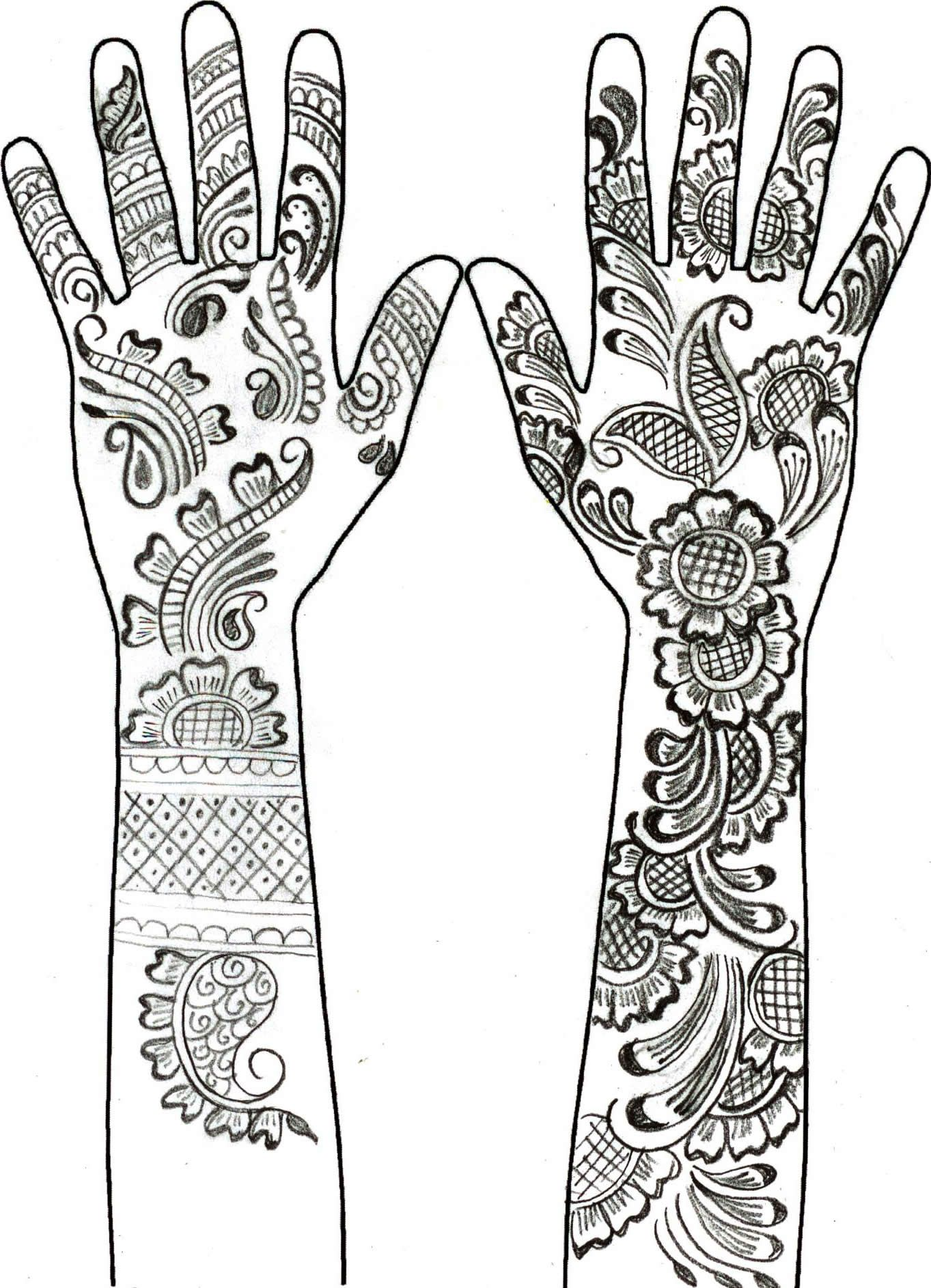 Coloring pages of mehndi hand pattern - Adult Coloring Page Arab World Henna Hand Tattoos 12