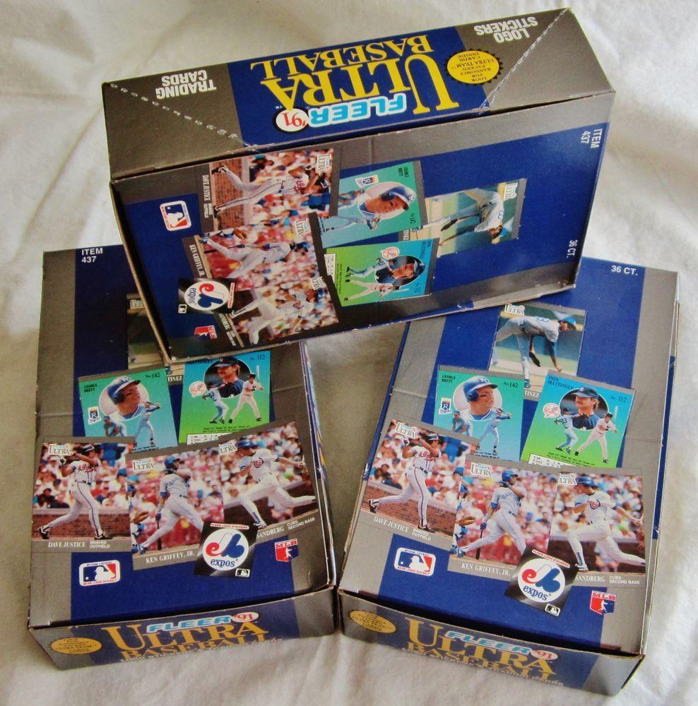 3 box lot 1991 ultra baseball karros rookie griffey