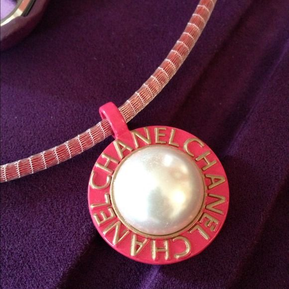 Chanel pink button in sterling rose red brass mesh dark pink gold chanel pink button in sterling rose red brass mesh dark pink gold pearl chanel pendant aloadofball Choice Image