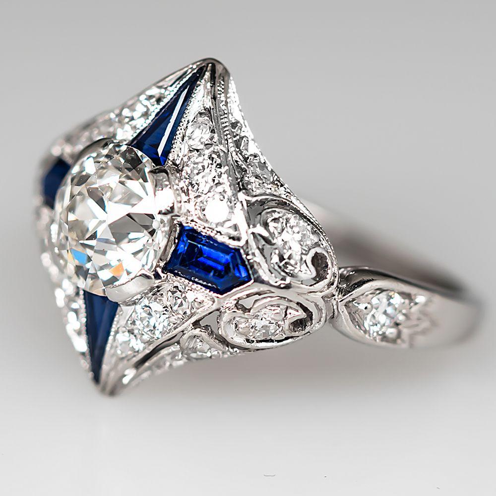Art+Deco+1920's+Diamond+Engagement+Ring+w/+Sapphire