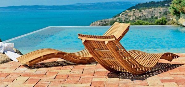 modern wooden sun loungers pool furniture patio design ideas