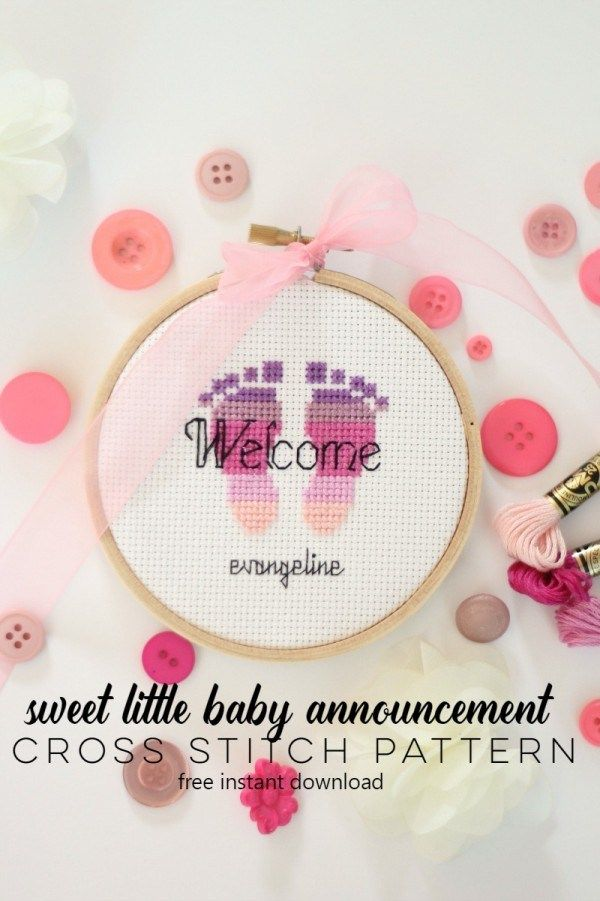 A Sweet Feet Baby Announcement to Stitch | Cross Stitch, etc
