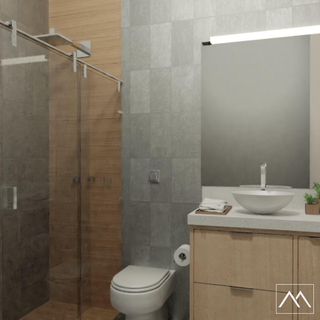 Banheiro Pequeno Porcelanato Madeira No Box Chuveiro Inox