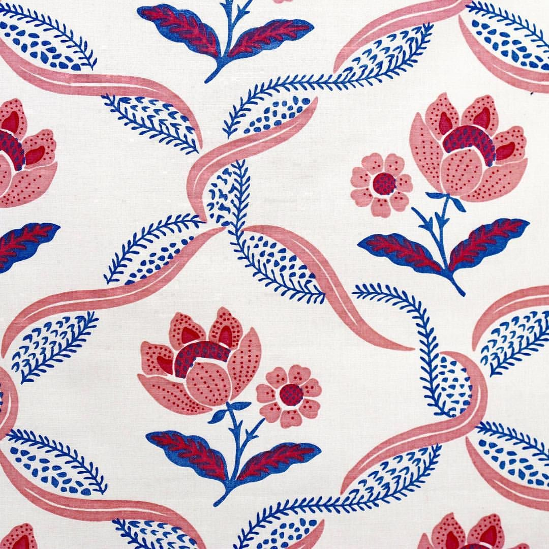 Petal Twist Hand Screen Printed fabric and wallpaper. #fabric #interiordesign #color #textiles #design #art #chic #designerhomes #designinspiration #decor #interiordecor #lifestyle #luxe #luxury #madeinengland #chelsea #colour #tissus #fabric #linen #style #designcrush #decorating #custom #antique #pink #blue #blueandwhite #flowers