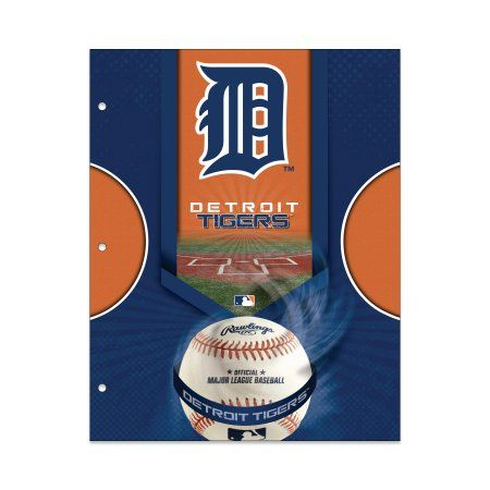 MLB Detroit Tigers 2 Pocket Portfolio, Three Hole Punched, Fits Letter Size