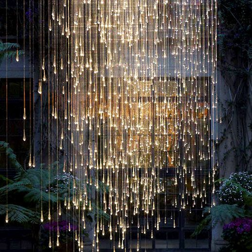 What a great outdoor wall idea... String lights! Falling rain light exhibit at Longwood Gardens (artist: Bruce Munro)