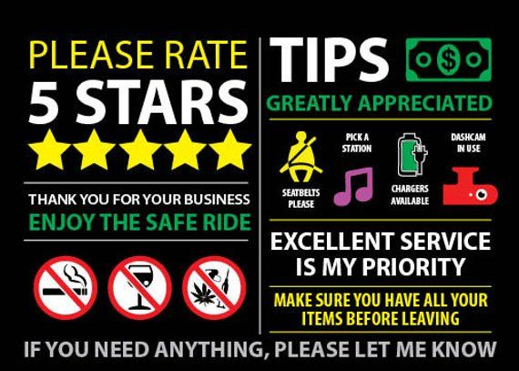 Uber Lyft Rideshare Tips And Rating Headrest Seat Dash Signs