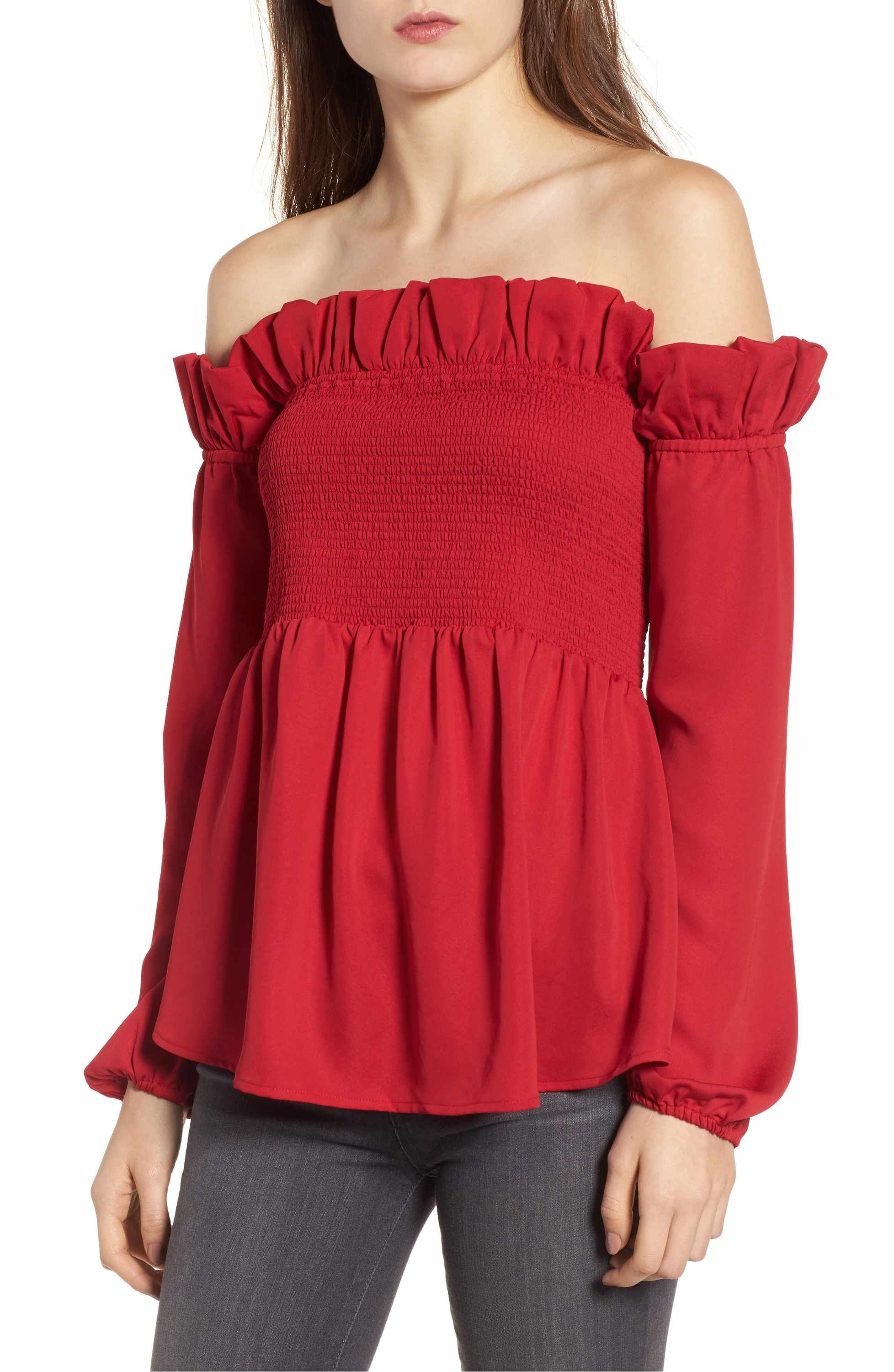 9c7dff6adc041c Main Image - Chelsea28 Smocked Top. Main Image - Chelsea28 Smocked Top Off  Shoulder Blouse ...