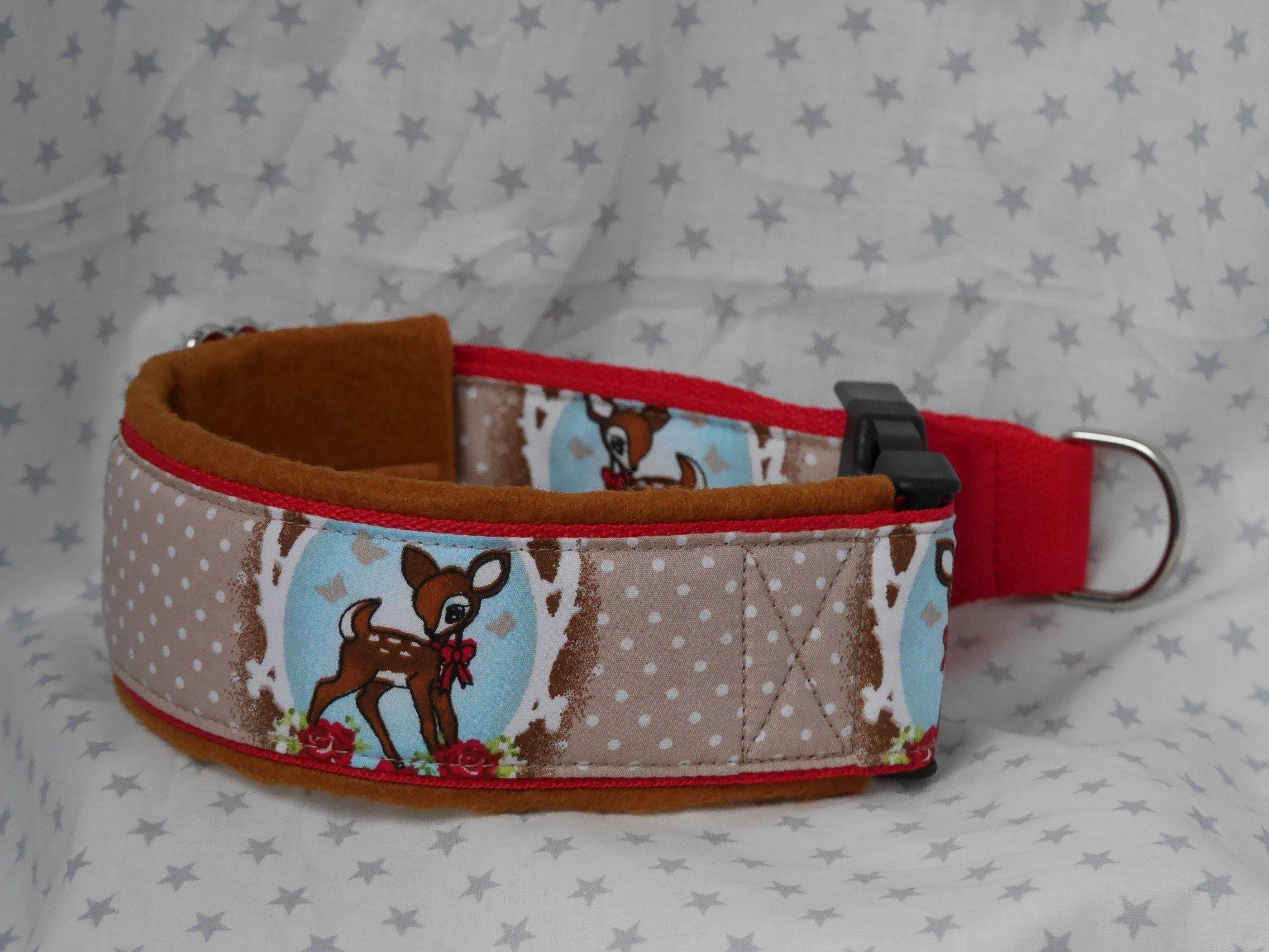 Zugstopp Halsband Design Bambi mit Filzpolsterung