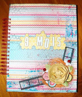 Album de grossesse http://scrapuleuxmonde.blogspot.fr/2013/05/faire-le-plein-de-couleurs.html