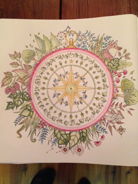 The Compass Page From Enchanted Forest Coloring Book Johanna Basford Adult