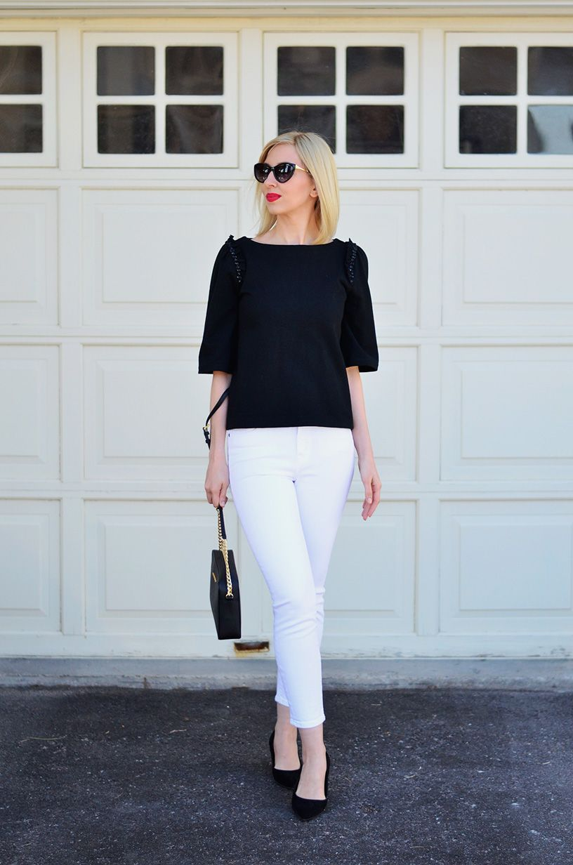 beaded top & white jeans style