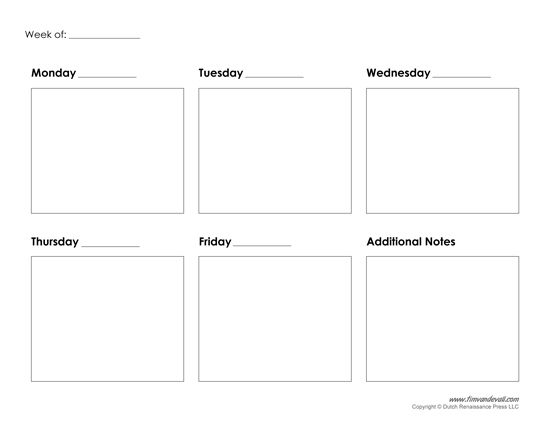 Printable Weekly Calendar Template Free Blank Pdf Calendars
