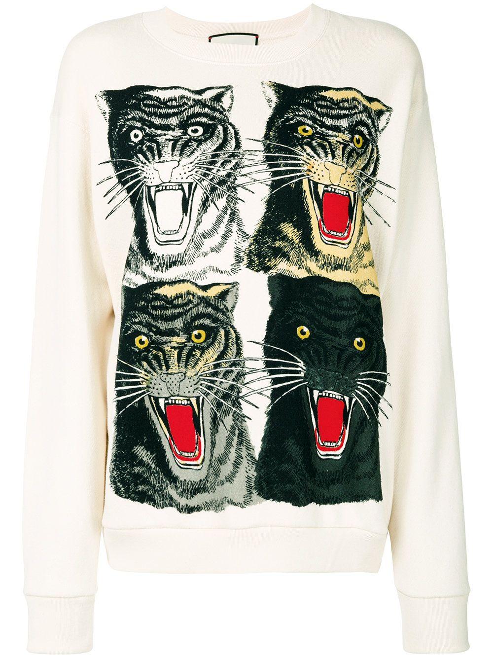 Gucci Tiger Face Oversized Sweatshirt Sweatshirts Long Sleeve Cotton Tops Oversized Sweatshirt [ 1334 x 1000 Pixel ]