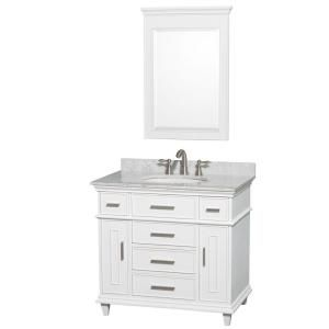 Wyndham Collection Berkeley 36 In Vanity In White With Marble