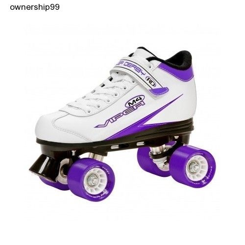 Womens Roller Skates Derby Style White Purple Wheels Quad Size Girls Kids  Rink  RollerDerby e5bd3767f