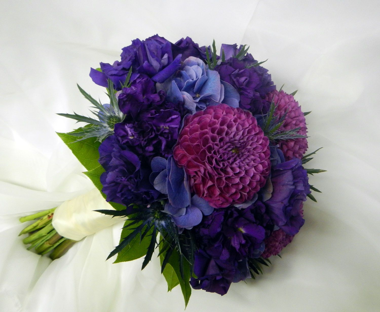 LARGE Purple Wedding Bouquet Real Touch Rose Hand Tied