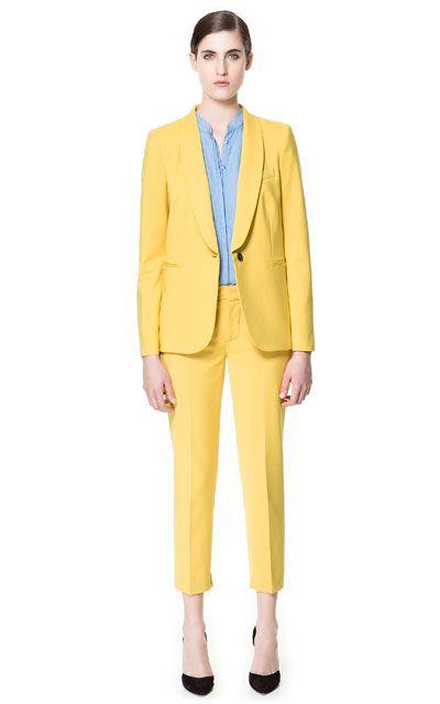 Traje chaqueta amarillo zara