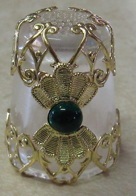 RP: Gold Filigree Thimble Fan Design w Green Gemstone | eBay.com