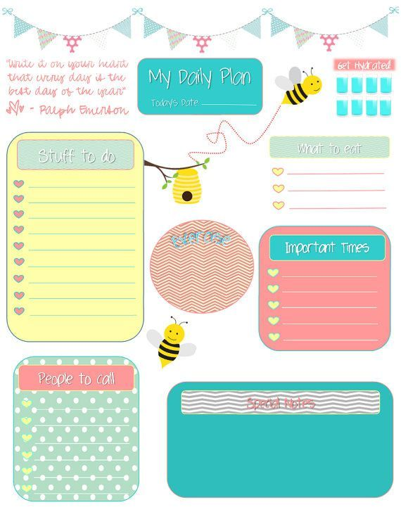Whimsical Bees Daily Planning Sheet For Filofax Or Erin Condren