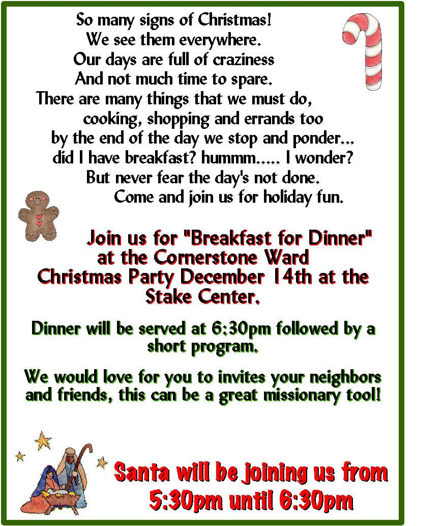 Lds Ward Christmas Party Program Ideas Part - 24: I Love Breakfast For Dinner - Great Way To Save Some $ For A Ward Christmas