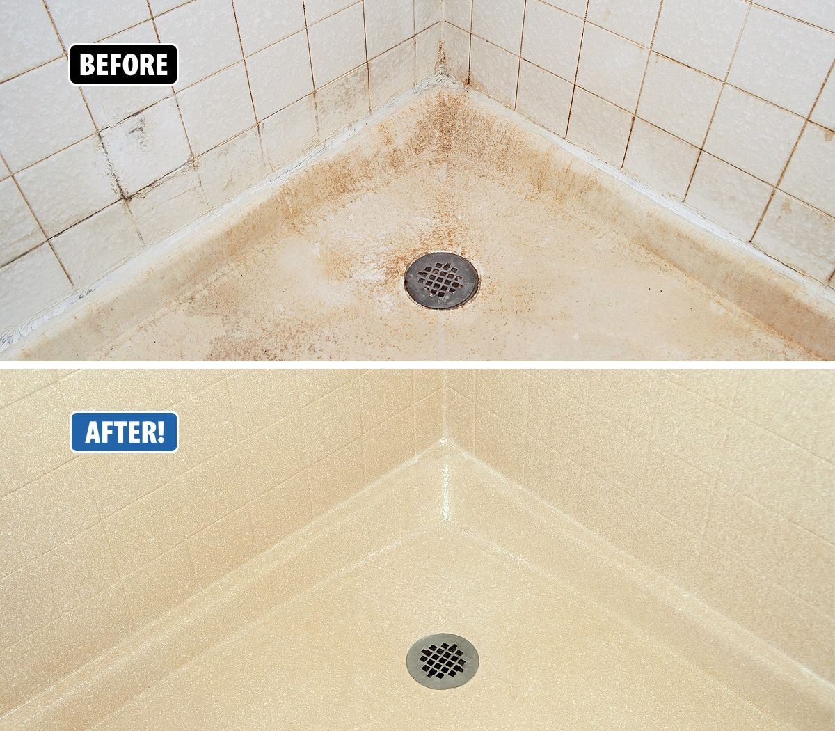 Shower pans and tile surrounds are really difficult to keep clean ...
