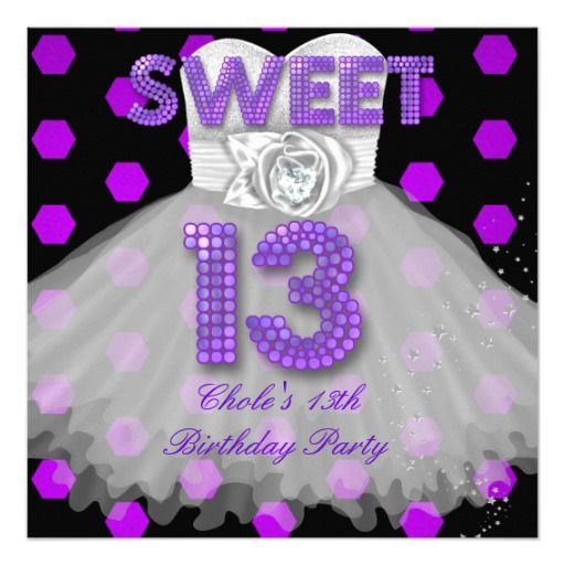 Sweet 13th Birthday Party Girls 13 Teen Teal Blue Invitation – Invitations for 13th Birthday Party
