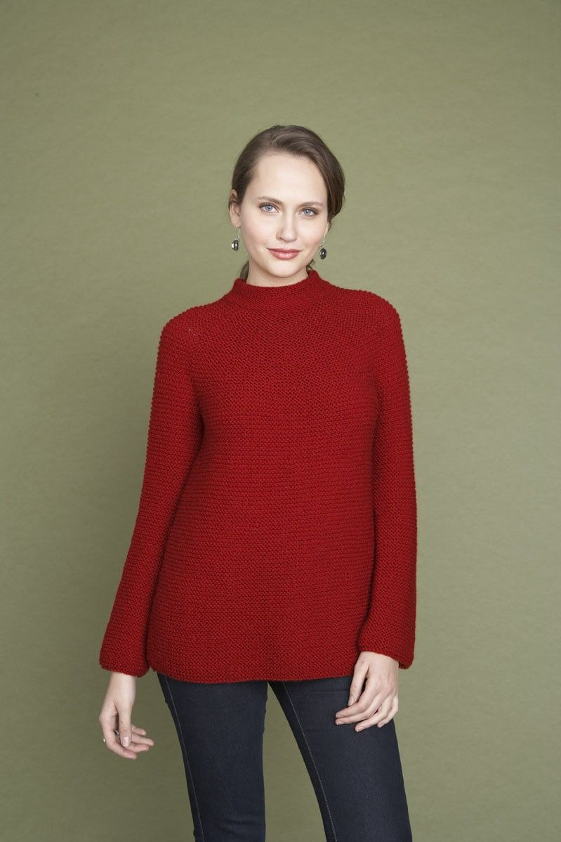 Garter Rows Pullover in Lion Brand Wool-Ease - 90184AD | KNITTING ...