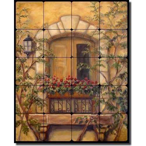 Tuscan Floral Tumbled Marble Tile Mural Backsplash 20 X 16 Chianti