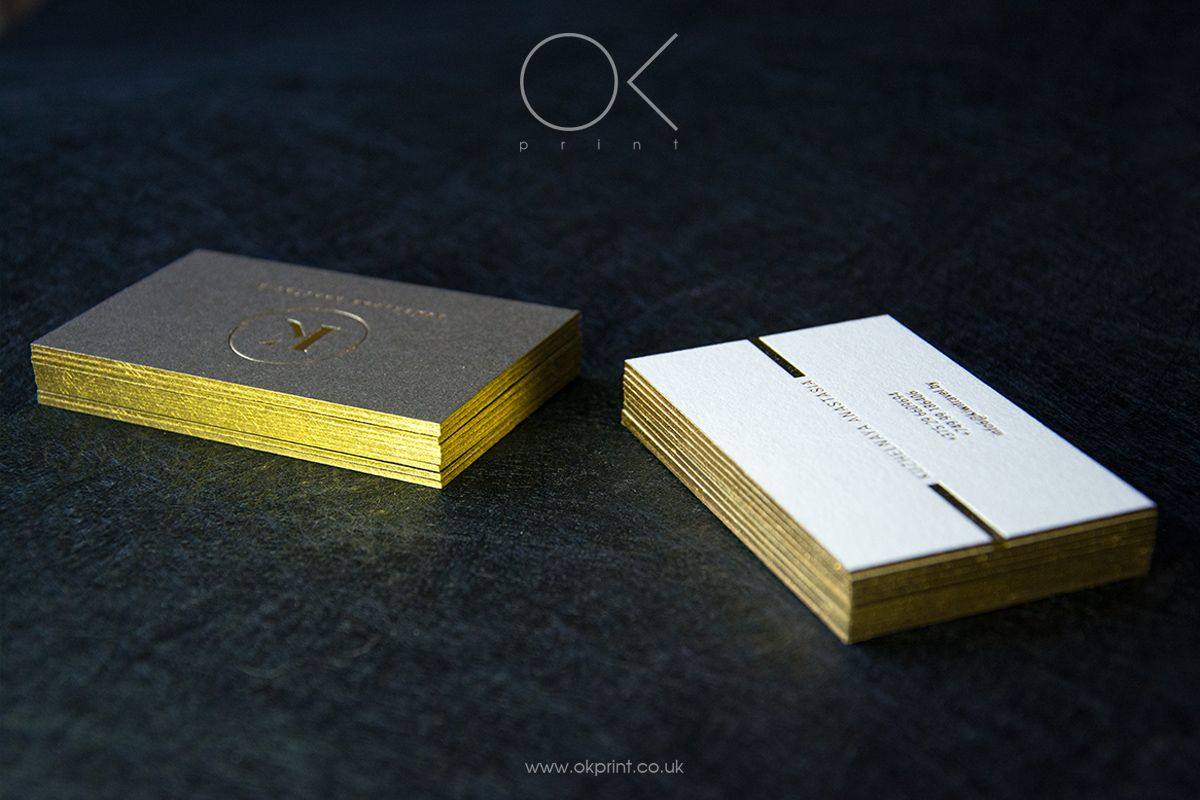 2 sides foil gold with painted edges embossed business