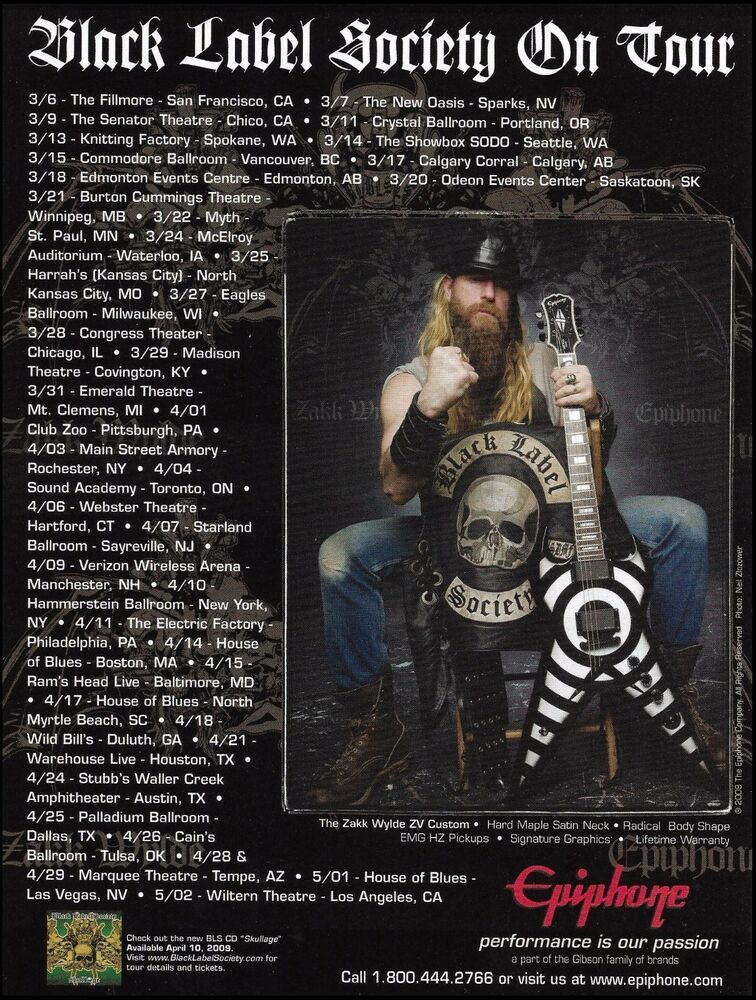 Black Label Society Zakk Wylde 2009 Tour Dates Epiphone Zv Custom Guitar 8x11 Ad Epiphone Black Label Society