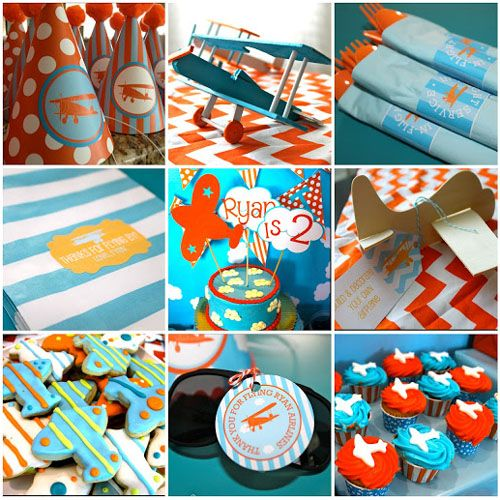 orange and blue airplane themed second birthday party decor details