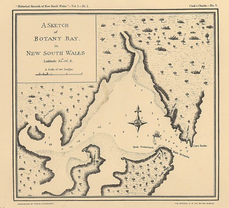 Map Of Australia 1770.1770 Botany Bay N S W By James Cook Exploration Maps Of
