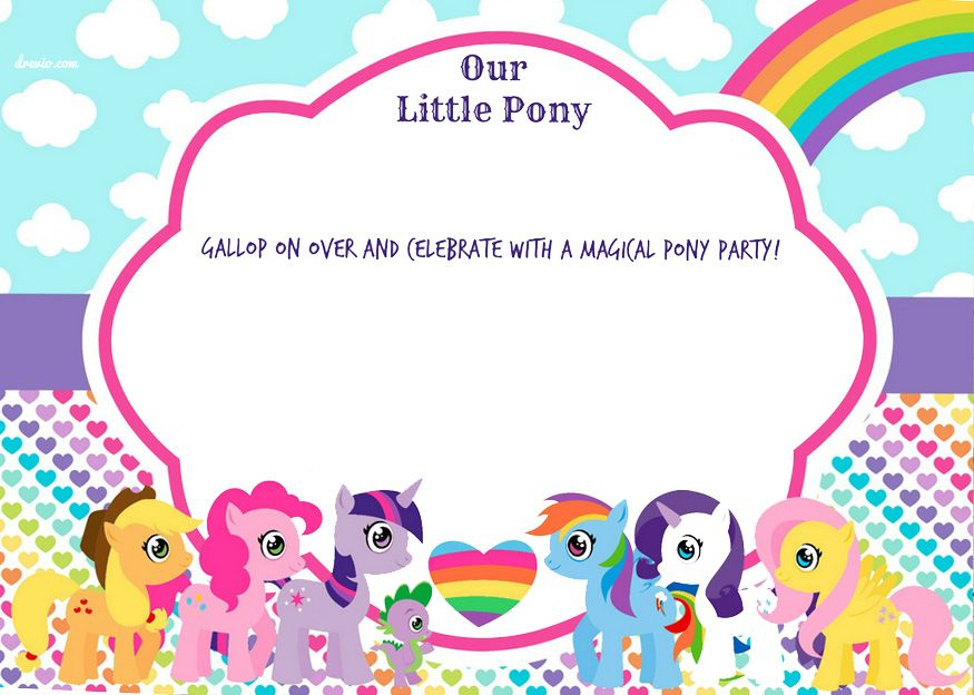 Download Now UPDATED Free Printable My Little Pony Birthday Invitations