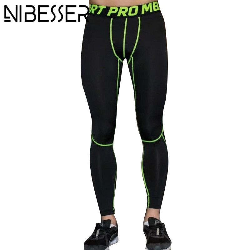 Sports Mens PRO Trousers Patchwork Elastic Compression Pants Activewear Bottom