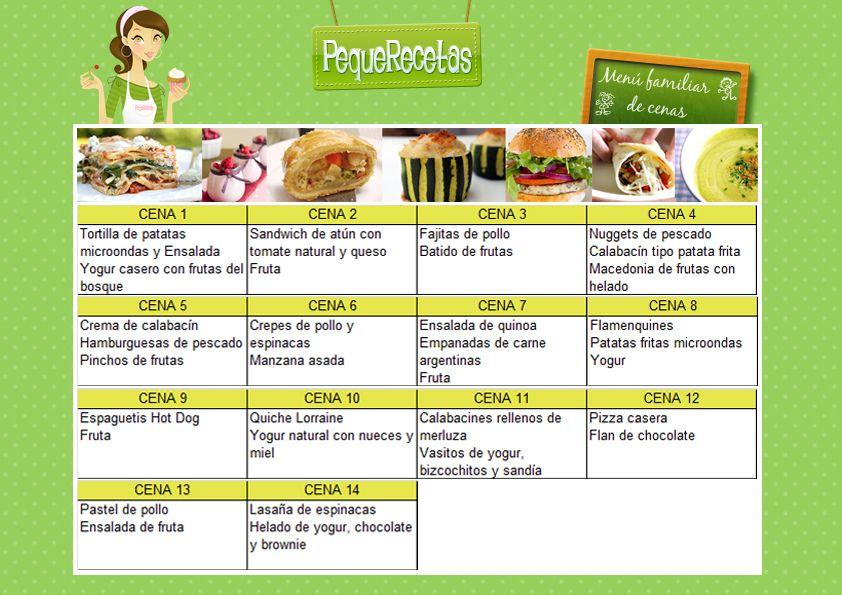 Men s semanales para ni os cenas faciles cenas y men for Menus faciles y sanos