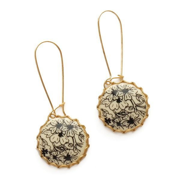 Black & White Floral Cabochon Earrings