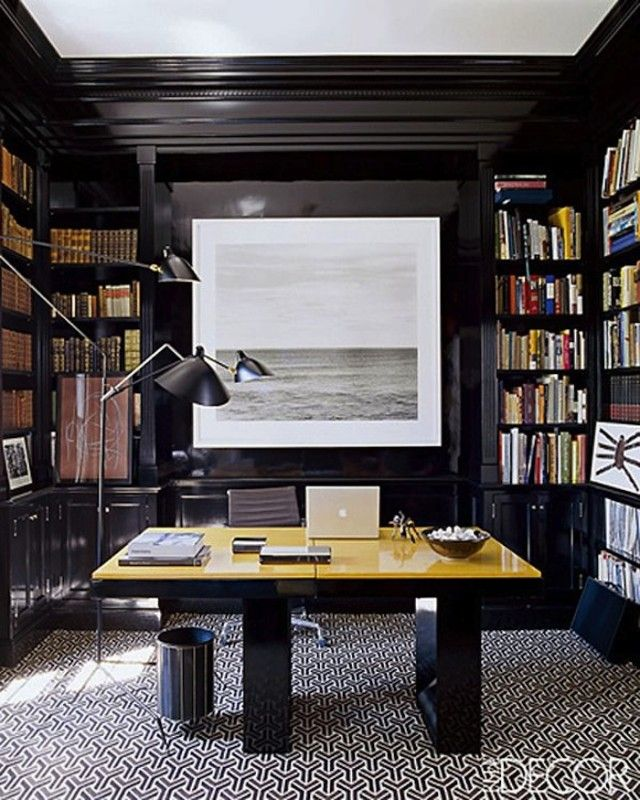 Masculine Home Offices, Black Rooms